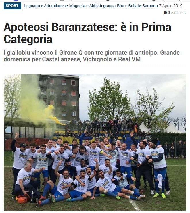 Apoteotesi, Baranzatese é in prima categoria